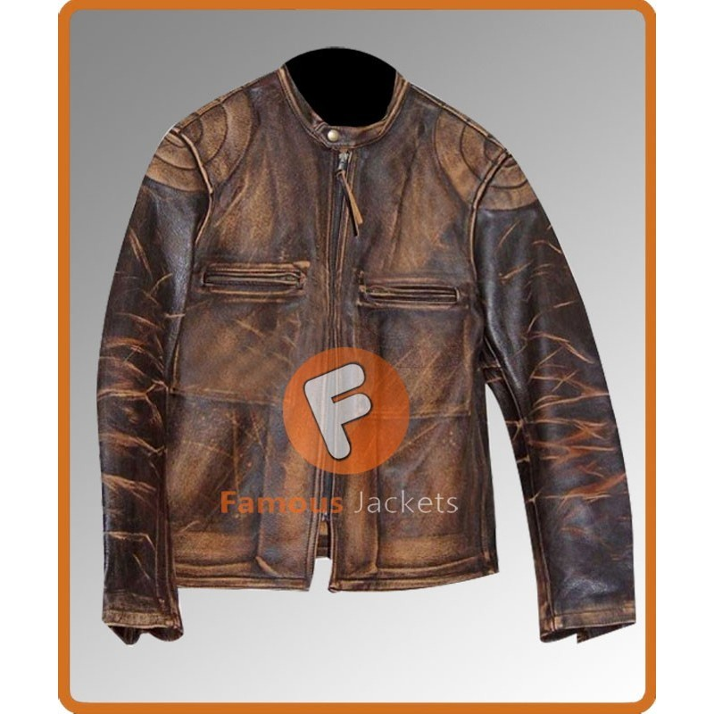 Buy Italian Job Seth Green Lyle Distressed Leather Jacket Sale