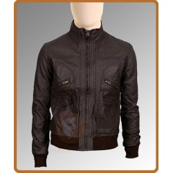 Slim Fit 6 Pocket Bomber Leather Jacket | Bomber Brown Leather Jacket