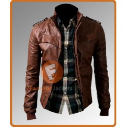 Slim Fit Biker Dark Brown Stylish Leather Jacket | Mens Slim Fit Leather Jacket UK
