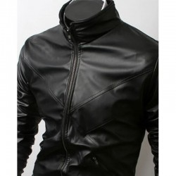 Slim Fit Cross Front Biker Black Jacket | Men's Leather Jacket Uk
