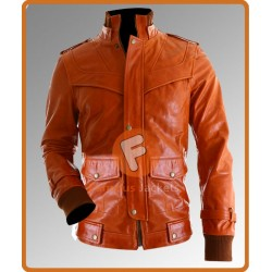 Slim Fit Strapes Orange Bomber Jacket | Orange Bomber Leather Jacket