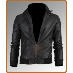 Slim Fit Trendy Vintage Bomber Jacket | Men's Leather Jacket Uk