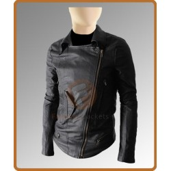 Slim fit Multi Pocket Black Biker Jacket | Leather Biker Jacket For Sale