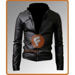 Strap Slim Fit Black Biker Leather Jacket | Black Leather Jacket
