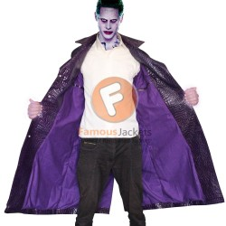 Suicide Squad Jared Leto Joker Leather Coat Crocodile Texture | Mens Leather Stylish Coat