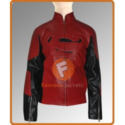 Superman Smallville Black/Red Leather Jacket | Leather Jacket Mens