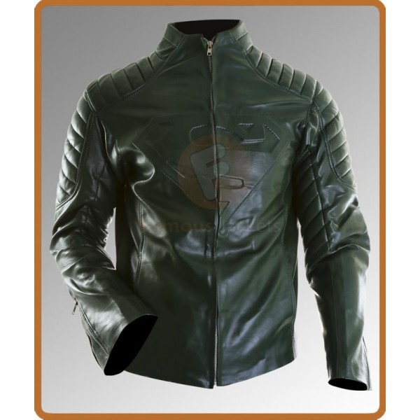 Superman Smallville Style Green Leather Jacket | Leather Jacket Mens