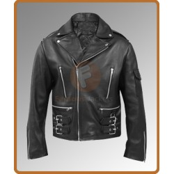 Terminator Arnold Schwarzenegger Black Jacket | Black Leather Jacket Mens