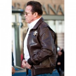 The Last Stand Arnold Schwarzenegger Bomber Jacket | (Ray Owens) Brown Leather Jacket