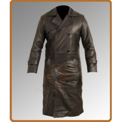 Total Recall Colin Farrell Trench Leather coat | Black Leather Coat