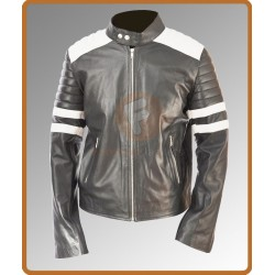 Tyler Durden Brad Pitt Black Leather Jacket With White Stripes | Mens Biker Leather Jacket