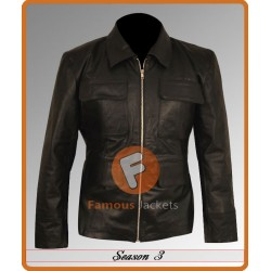 Vampire Diaries Season 3 & 4 Damon Salvatore's Jackets | Black Leather Jacket