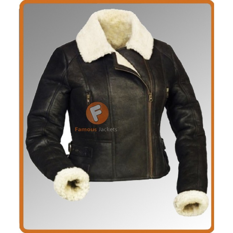 Ladies Sheepskin Shearling Aviator Flying Bomber Fur Jacket
